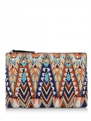 NEW LOOK Morrocco Embroidered Zip-top Clutch