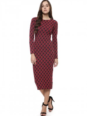 GLAMOROUS Geo Print Long Sleeve Bodycon Dress