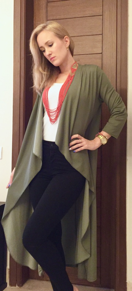 khaki duster coat outfit