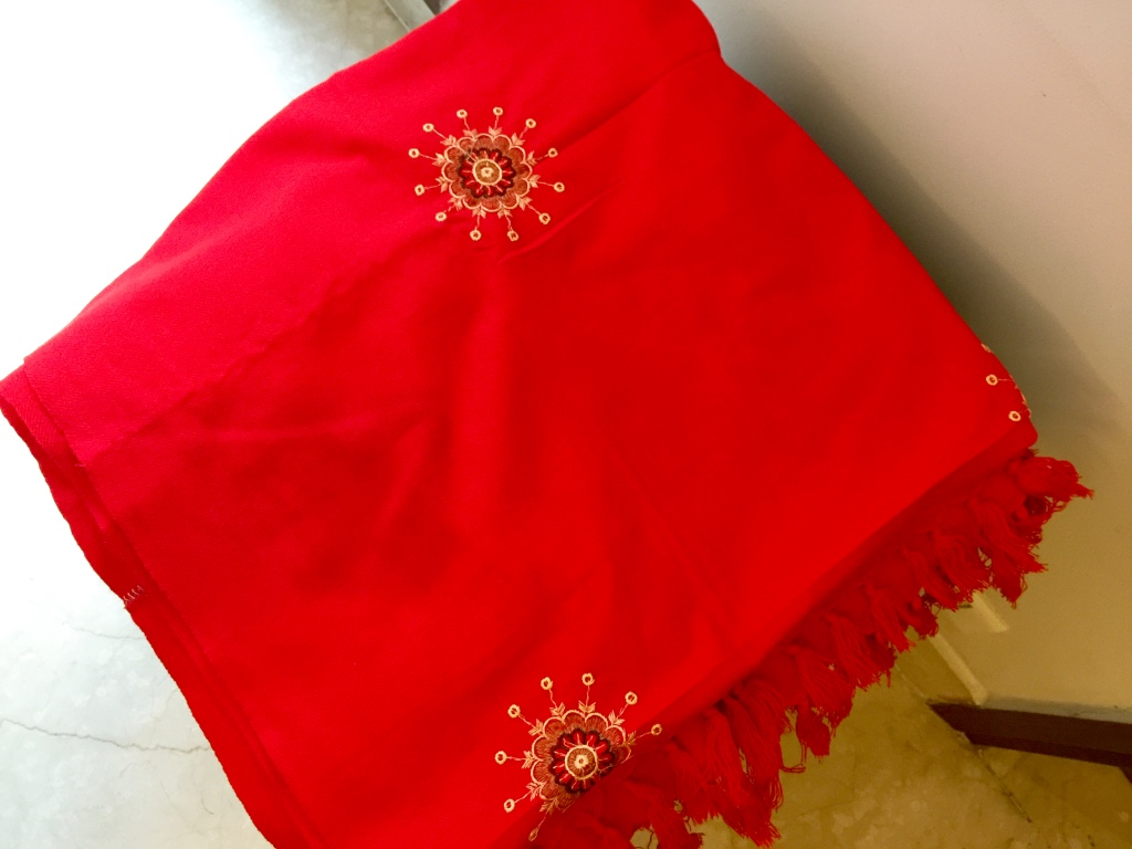 wool shawl red