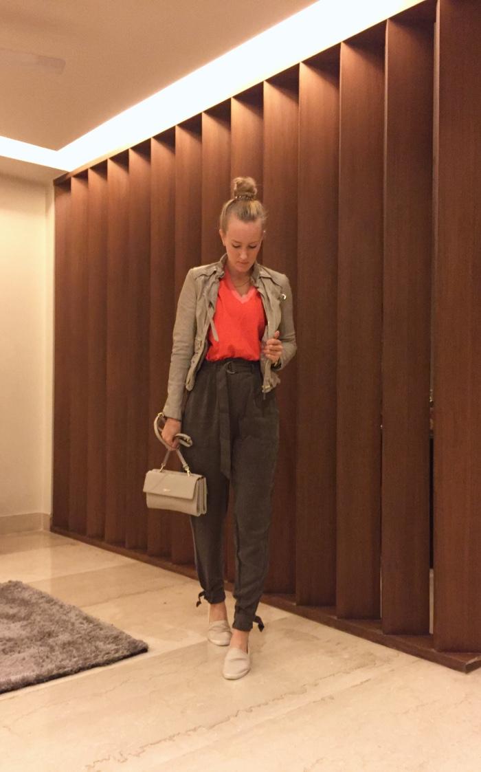 KappAhl trousers, Karen Millen knit & leather jacket, DKNY bag, Aldo shoes