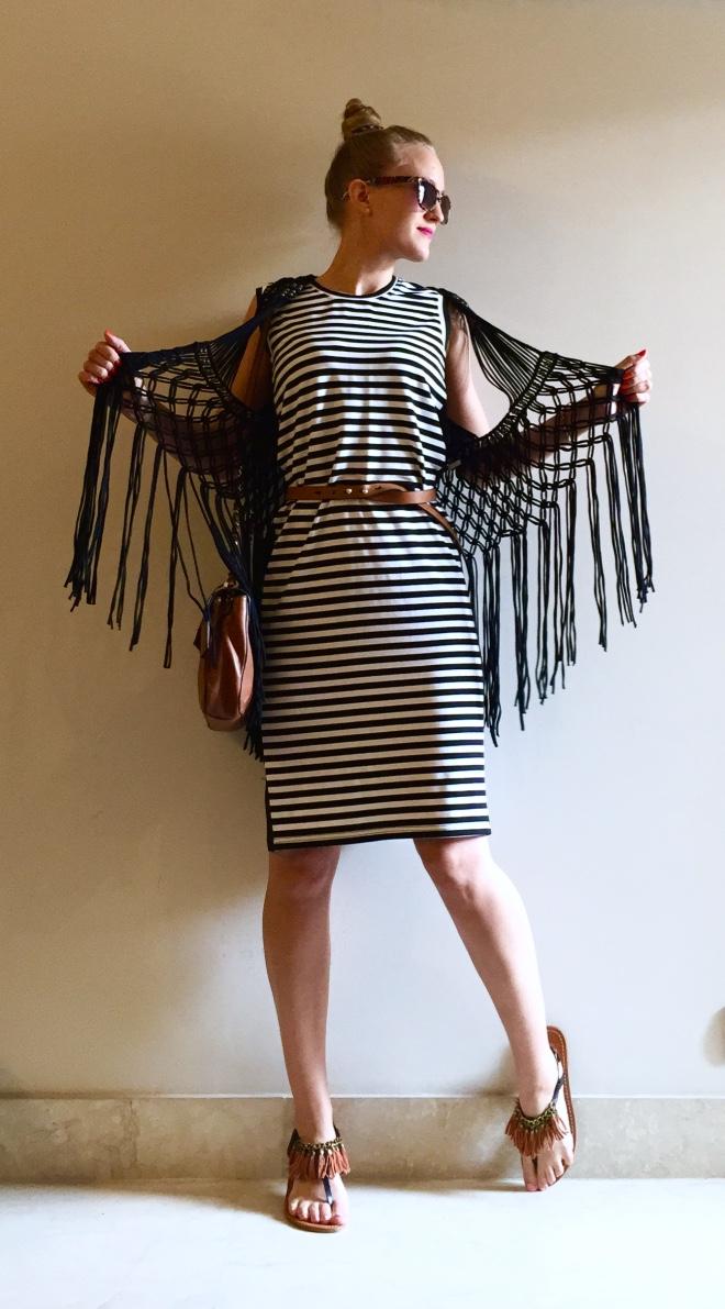 boho striped dress outfit