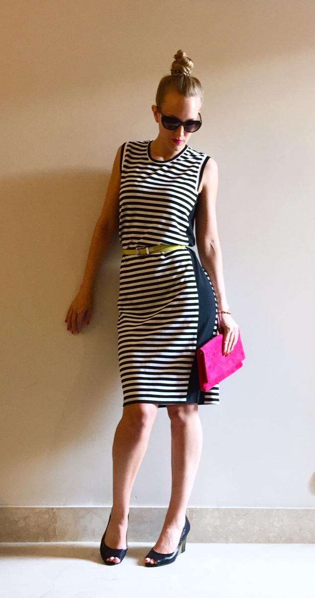 Karen Millen clutch & belt, Venus Steps wedges, Chanel sunglasses