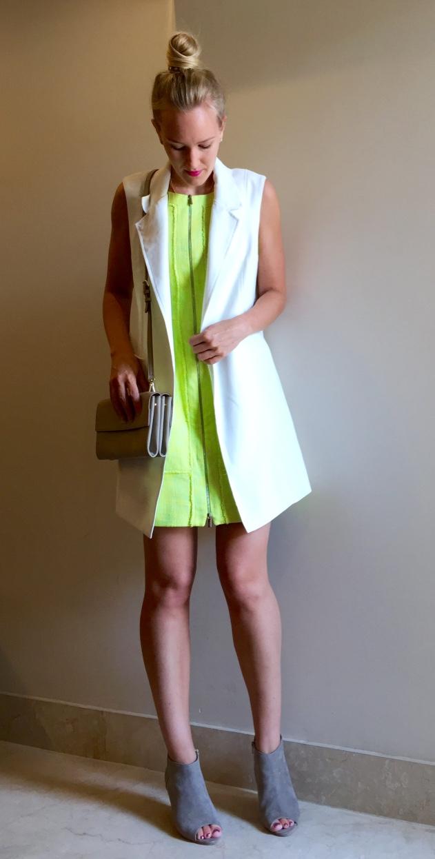 Forever New waistcoat, Karen Millen dress, DKNY bag, Camaieu shoes