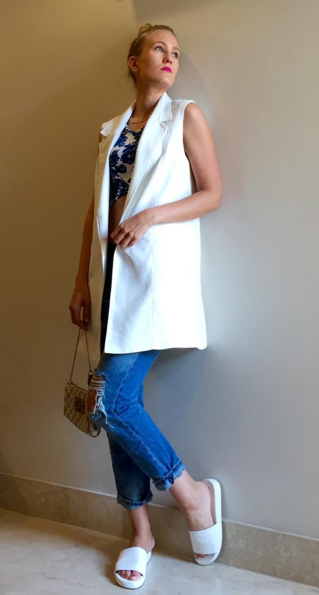 Forever New waistcoat, Zara jeans, BikBok crop top, Koovs slides, Louis Vuitton bag