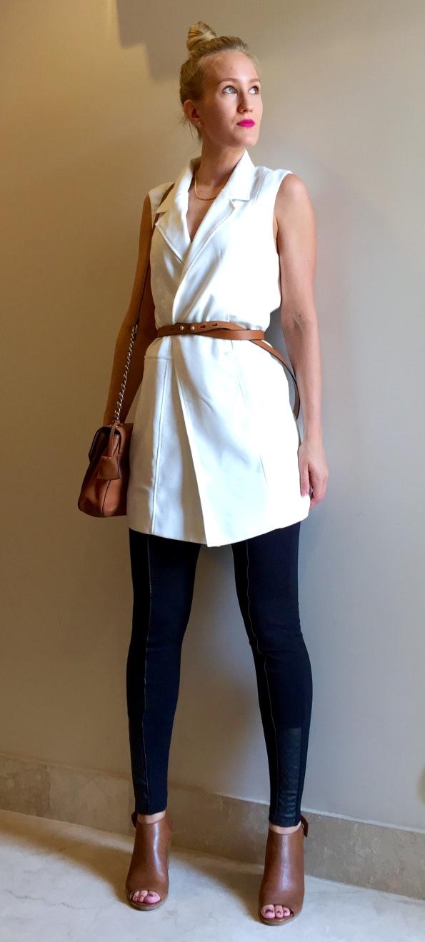 Forever New waistcoat, Karen Millen belt & bag, Ril's shoes