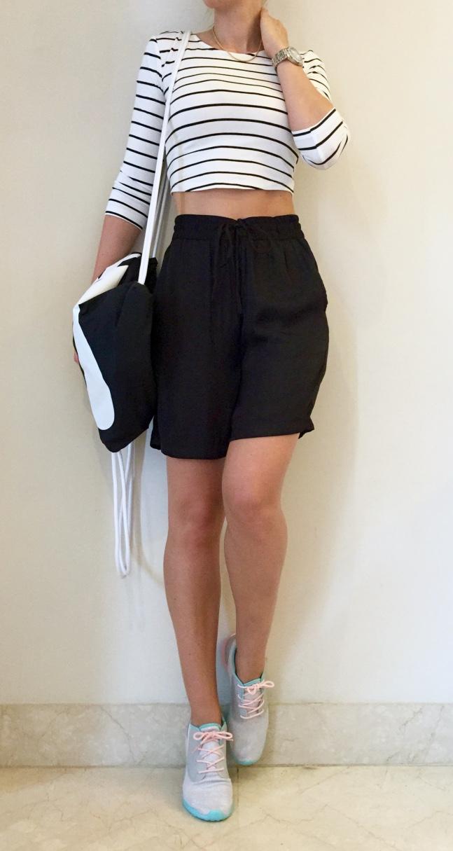 New Look sneakers, Nike backbag, Lindex shorts, H&M top