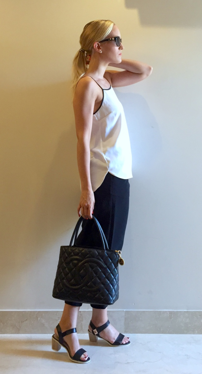 Forever New top, BikBok trousers, Bata sandals, Chanel bag & sunglasses
