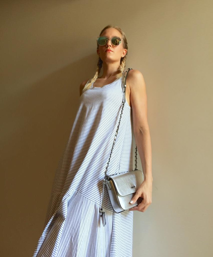 Zara dress, DKNY bag, New Look sneakers, Mango sunglasses