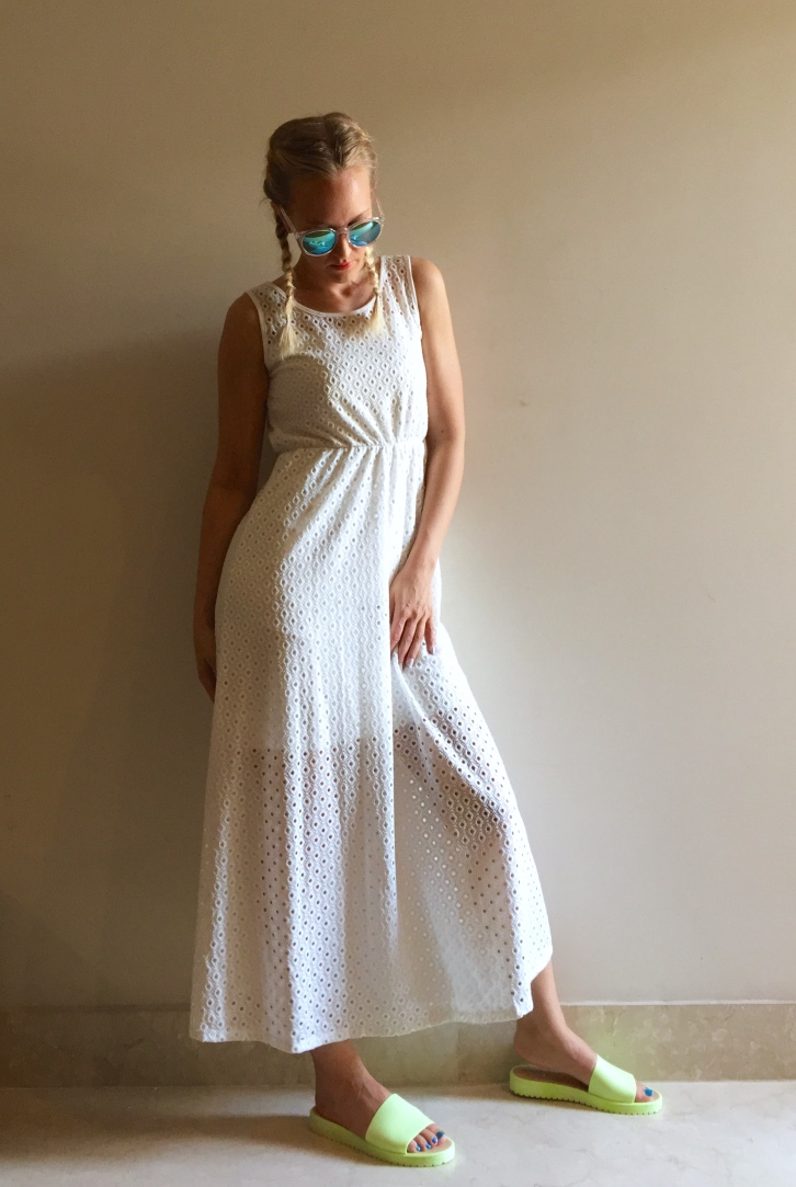 Dress from Lifestyle, Mango sunglasses, slip-ons from Myntra