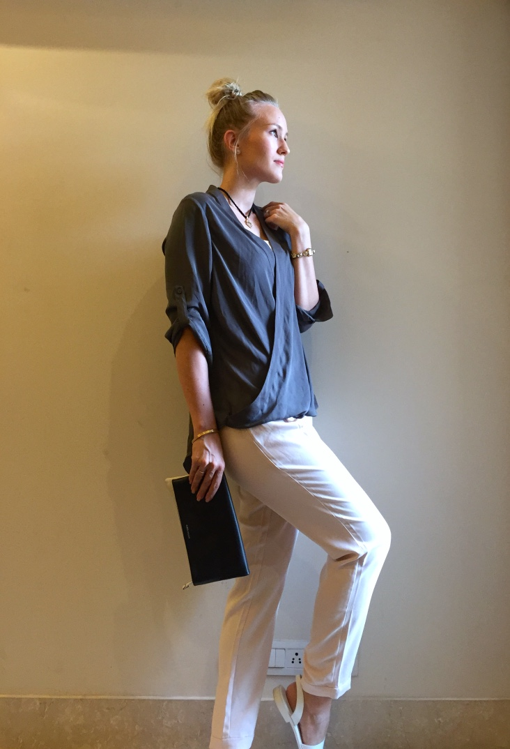 Forever New trousers and shirt, Charles & Keith shoes, Karen Millen clutch
