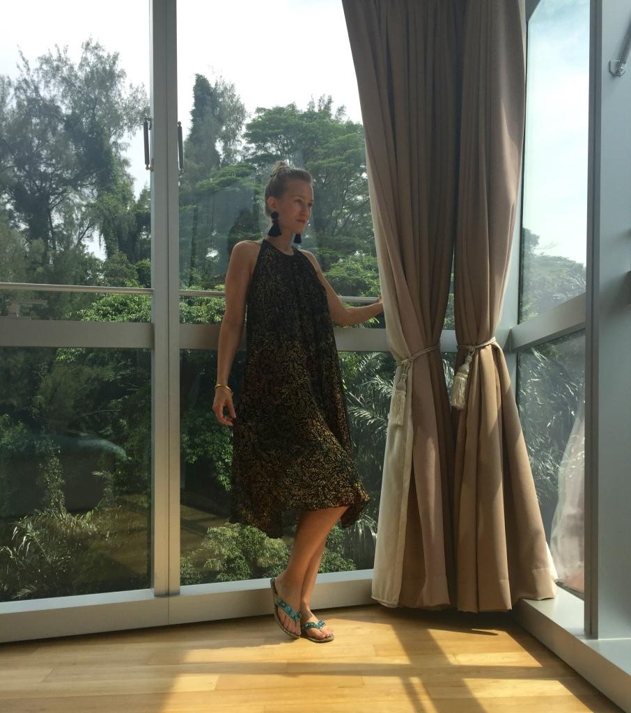 Zara dress, H&M earrings, Metro sandals