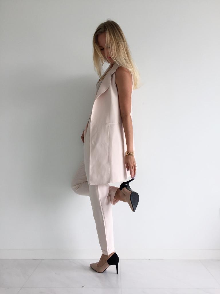 Forever New waistcoat & trousers, Mango top, Zara heels