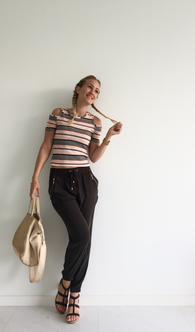 Forever New pants, Cotton On top, See by Chloé bag, Esprit wedges
