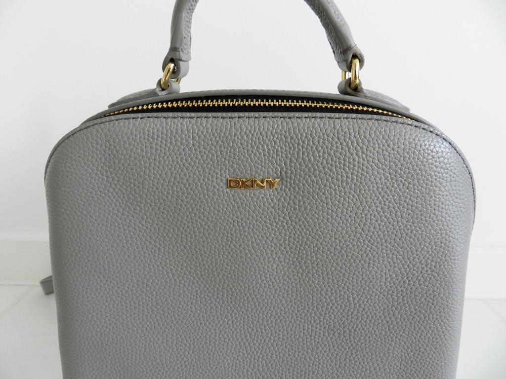 DKNY grey leather backpack