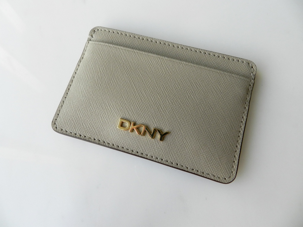 DKNY beige saffiano leather card wallet