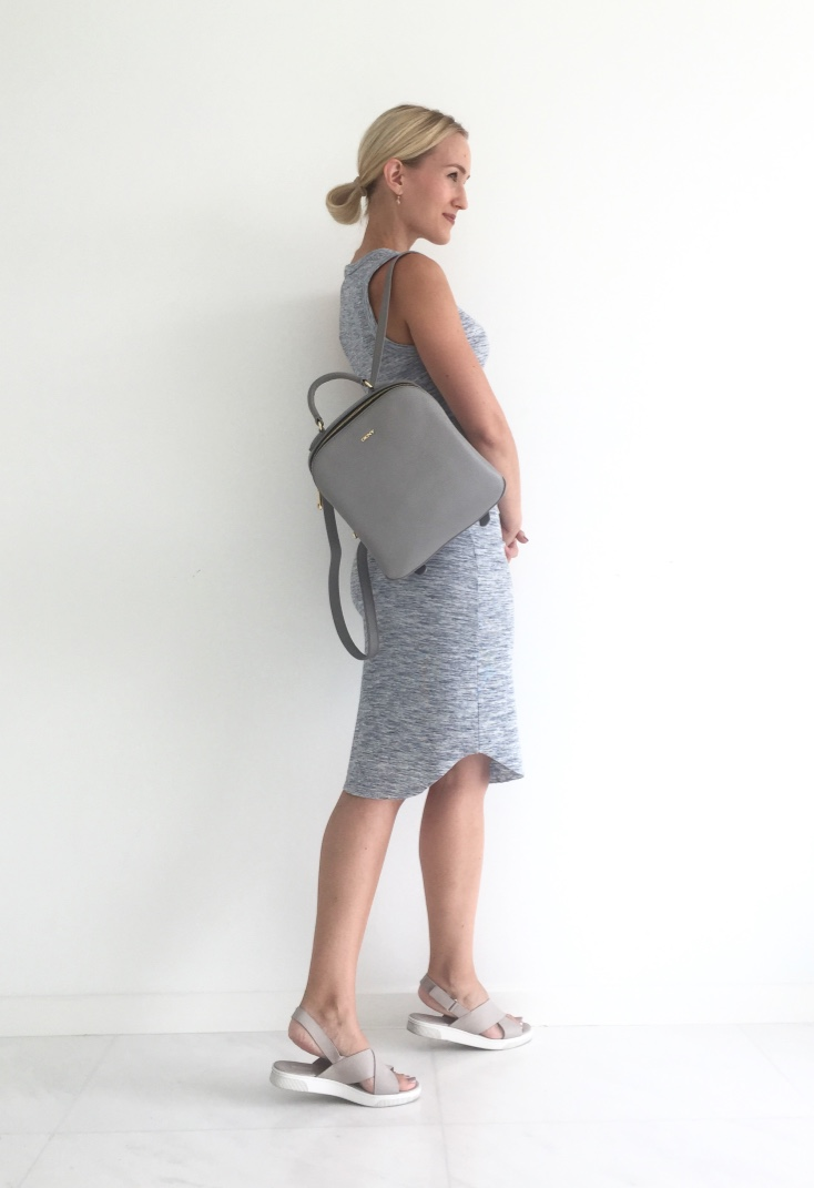 Forever 21 dress, DKNY backpack, Pedro shoes
