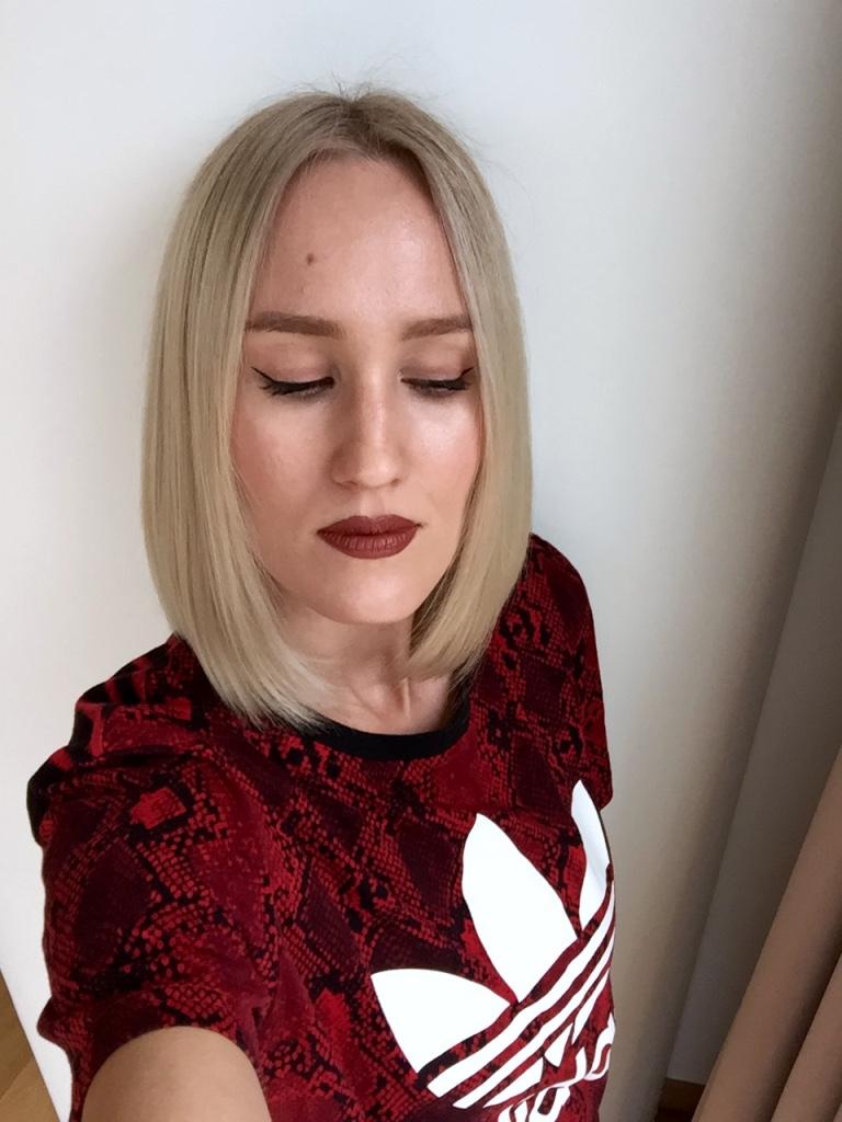 "Wearing K.Godfroy Cosmetics Matte Liquid Lipstick in ""Wifey Material"""