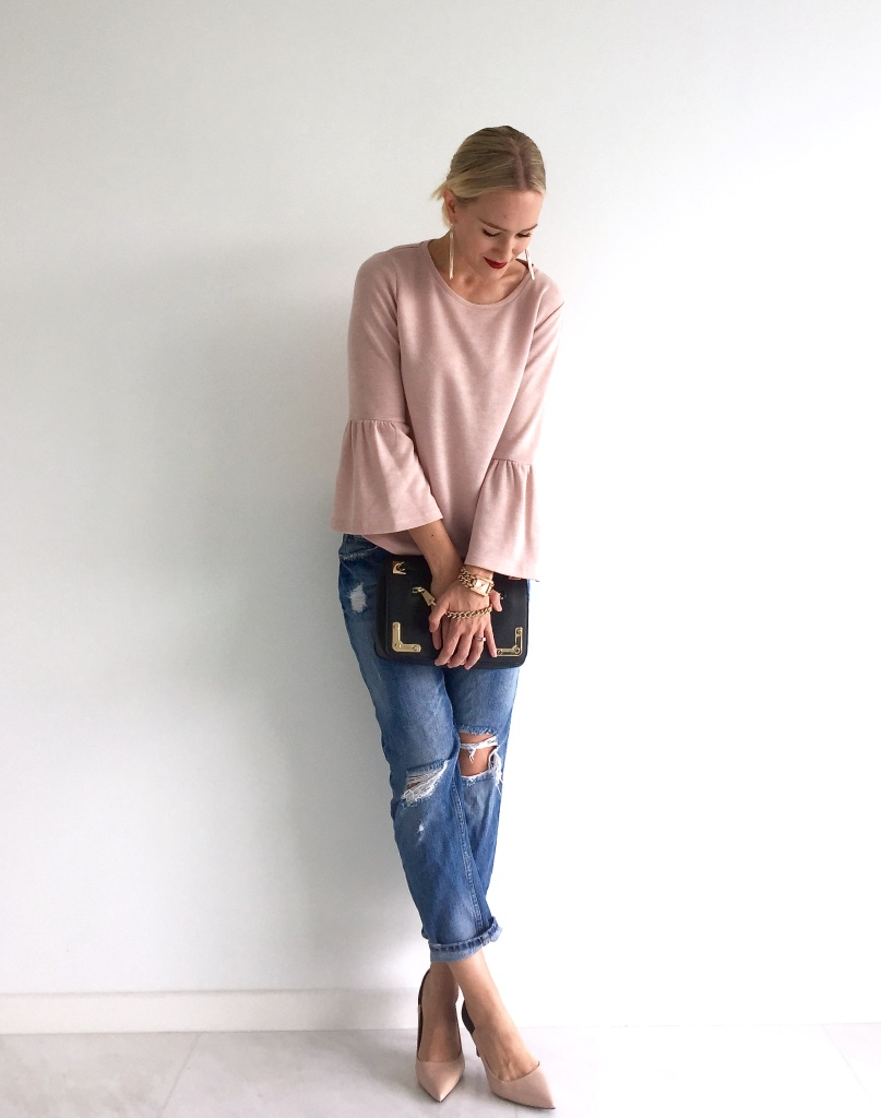 Forever New knit, Zara jeans & heels, Furla bag, Lovisa earrings