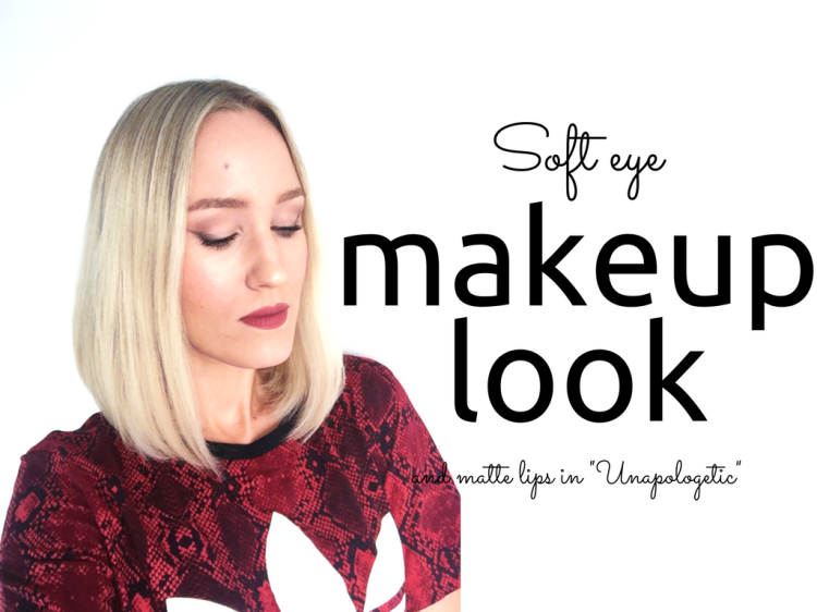 Soft eye makeup look and matte lips