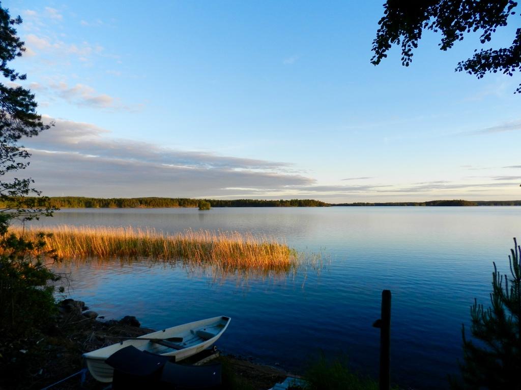 The Finnish midsummer lake view sunset