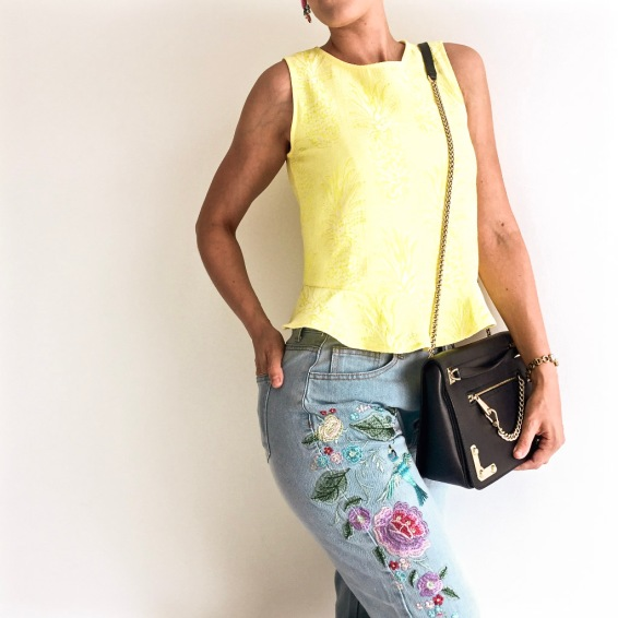 Yellow Mango top embroidered jeans ootd blog Findianlife