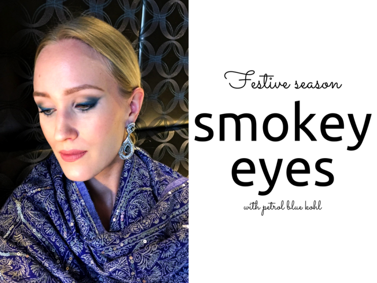 Festive season makeup look petrol blue metallic kohl blog findianlife