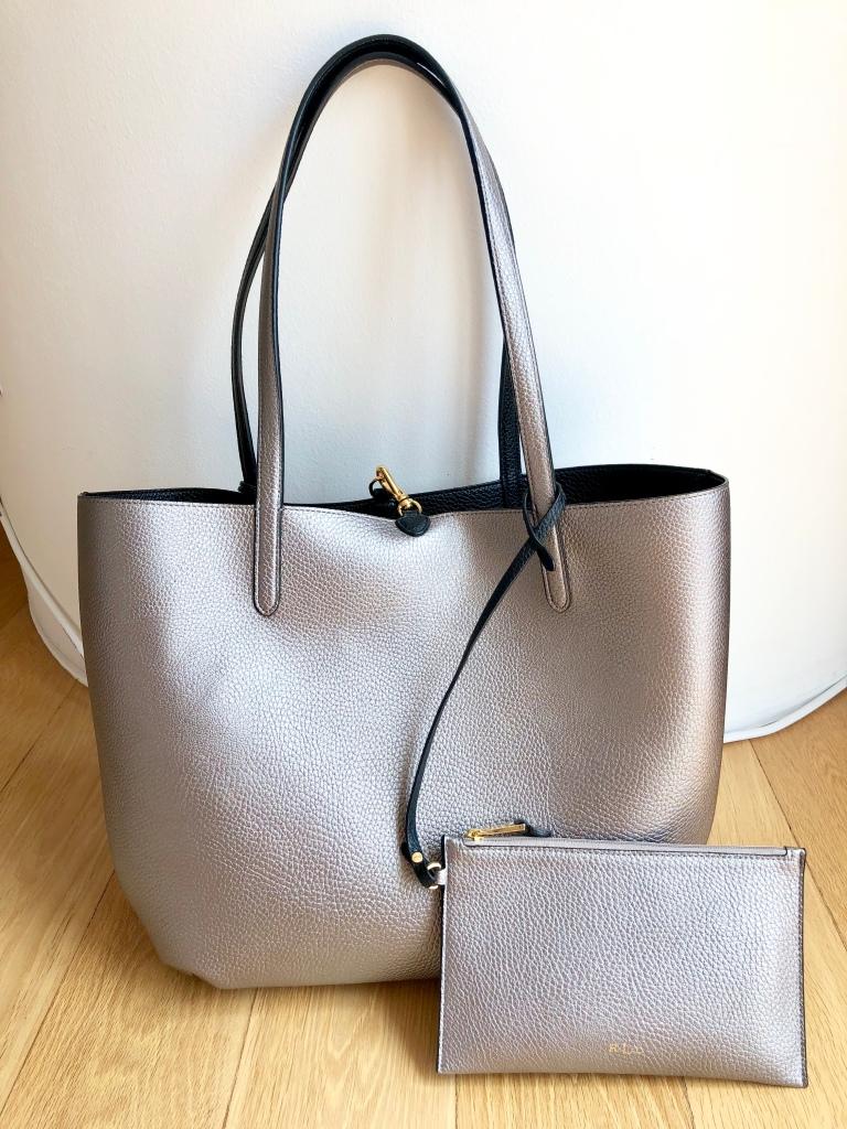 Lauren Ralph Lauren black/grey metallic tote bag blog Findianlife