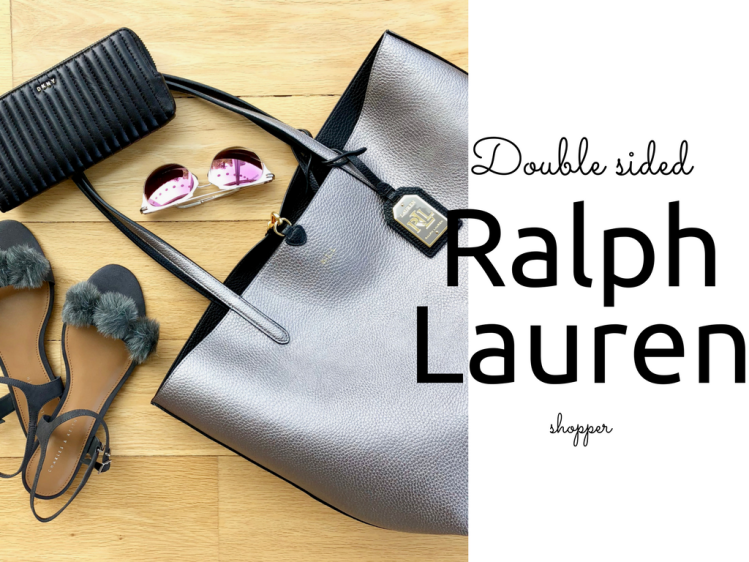Lauren Ralph Lauren black/grey metallic tote bag blog Findianlife