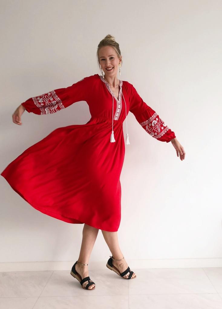 Red boho dress Indiska fashion blog Findianlife